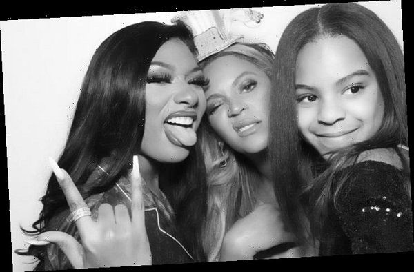 Megan-Thee-Stallion-Beyoncé-and-Blue-Ivy-posing-in-a-black-and-white-pictures