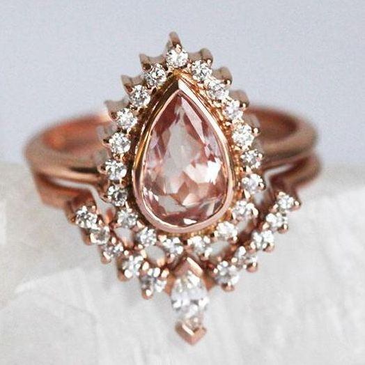 engagement ring pear pink for libra