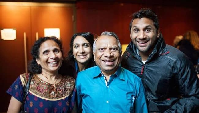 Geeta Patel with her parents and brother