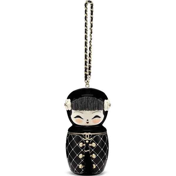 Metiers DArt Paris Shanghai Black Lucite Matryoshka evening bag with gold hardware
